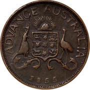 Australia 1 Penny 1855 KM# Tn9 Private Token issues ADVANCE AUSTRALIA coin reverse