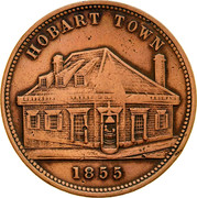 Australia 1 Penny 1855 KM# Tn275 Private Token issues HOBART TOWN coin reverse
