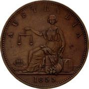 Australia 1 Penny 1855 KM# Tn256 Private Token issues AUSTRALIA 1855 coin reverse