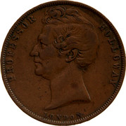 Australia 1 Penny 1857 KM# Tn278.1 Foreign Token issues PROFESSOR HOLLOWAY LONDON coin obverse