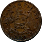 Australia 1 Penny 1857 KM# Tn133 Private Token issues INNER: GENERAL MARINE STORE SHIPPERS OF RAGS GLASS METALS & O. OUTER: ROBERT HYDE & CO MELBOURNE coin obverse