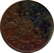 Australia 1 Penny 1857 KM# Tn85.3 Private Token issues AUSTRALIAN TEA MART HANKS AND LLOYD SYDNEY coin obverse