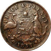 Australia 1 Penny 1857 KM# Tn85.1 Private Token issues AUSTRALIAN TEA MART HANKS AND LLOYD SYDNEY coin obverse