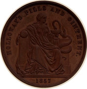 Australia 1 Penny 1857 KM# Tn278.2 Foreign Token issues HOLLOWAY'S PILLS AND OINTMENT coin reverse