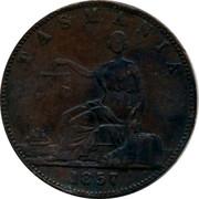 Australia 1 Penny 1857 KM# Tn73 Private Token issues TASMANIA coin reverse
