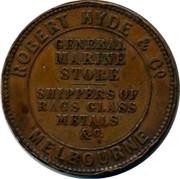 Australia 1 Penny 1857 KM# Tn133 Private Token issues PEACE & PLENTY coin reverse