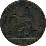 Australia 1 Penny 1858 7 varieties exist KM# Tn104 Private Token issues MELBOURNE VICTORIA coin reverse