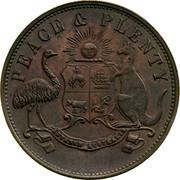 Australia 1 Penny 1858 KM# Tn285.1 Unnamed Token Issues PEACE & PLENTY coin obverse