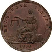 Australia 1 Penny 1858 KM# Tn285.1 Unnamed Token Issues MELBOURNE VICTORIA coin reverse