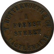 Australia 1 Penny 1859 KM# Tn29 Private Token issues T. BUTTERWORTH & CO 1 FORREST STREET CASTLEMAINE coin reverse
