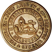 Australia 1 Penny 1860 KM# Tn11 Private Token issues JOHN ANDREW & CO IMPORTERS & GENERAL DRAPERS 11 LONSDALE STREET WEST MELBOURNE coin obverse
