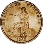 Australia 1 Penny 1860 KM# Tn11 Private Token issues MELBOURNE VICTORIA 1860 coin reverse