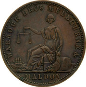 Australia 1 Penny 1861 KM# Tn262 Private Token issues WARNOCK BROS. MELBOURNE coin obverse