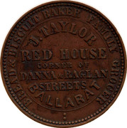 Australia 1 Penny 1862 KM# Tn242 Private Token issues BREAD & BISCUIT BAKER coin obverse