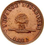 Australia 1 Penny 1862 KM# Tn237 Private Token issues ADVANCE AUSTRALIA coin obverse