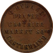 Australia 1 Penny 1862 KM# Tn207 Private Token issues G.RYLAND DRAPER AND CLOTHIER MARKET SQRE CASTLEMAINE coin obverse