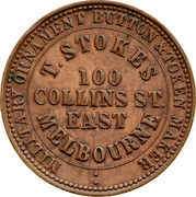Australia 1 Penny 1862 KM# Tn233 Private Token issues MILITARY ORNAMENT BUTTON & TOKEN MAKER T.STOKES 100 COLLINS ST. EAST MELNOURNE coin obverse