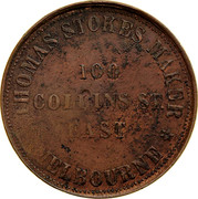 Australia 1 Penny 1862 KM# Tn221.2 Private Token issues THOMAS STOKES coin obverse