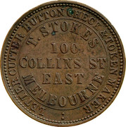 Australia 1 Penny 1862 KM# Tn224 Private Token issues LETTER CUTTER BUTTON CHECK & TOKEN MAKER T.STOKES 100 COLLINS ST EAST MELBOURNE coin obverse