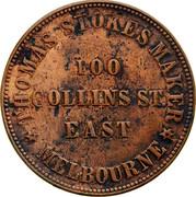 Australia 1 Penny 1862 KM# Tn222 Private Token issues THOMAS STOKES coin obverse