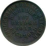 Australia 1 Penny 1862 KM# Tn200 Private Token issues OUTER: WHOLESALE & RETAIL BUTCHER INNER: R.B. RIDLER 187 BRIDGE ROAD RICHMOND coin obverse