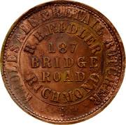 Australia 1 Penny 1862 KM# TnF201 Private Token issues WHOLESALE&RETAIL BUTCHER R.B.RIDLER 187 BRIDGE ROAD RICHMOND coin obverse