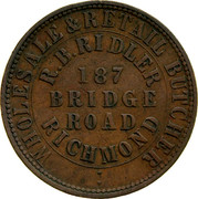Australia 1 Penny 1862 KM# Tn202 Private Token issues WHOLESALE&RETAIL BUTCHER R.B.RIDLER 187 BRIDGE ROAD RICHMOND coin obverse