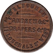 Australia 1 Penny 1862 KM# Tn15 Private Token issues MELBOURNE JNO ANDREW & CO DRAPERS & C 11 LONSDALE ST. WEST coin reverse