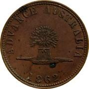 Australia 1 Penny 1862 KM# Tn260 Private Token issues ADVANCE AUSTRALIA 1862 coin reverse