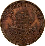 Australia 1 Penny 1862 KM# Tn259 Private Token issues VICTORIA. 1862 ADVANCE VICTORIA T. STOKES MAKER 100 COLLINS ST. EAST MELBOURNE coin reverse