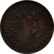 Australia 1 Penny 1862 KM# TnF294 Private Token issues VICTORIA 1862 IN VINO VERITAS STOKES MAKER MEL. coin reverse