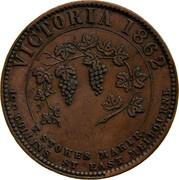 Australia 1 Penny 1862 KM# Tn258 Private Token issues VICTORIA 1862 T. STOKES MAKER 100 COLLINS ST. EAST MELBOURNE coin reverse