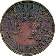Australia 1 Penny 1862 KM# Tn237 Private Token issues VICTORIA 1862 IN VINO VERITAS coin reverse