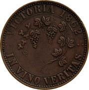 Australia 1 Penny 1862 KM# Tn236.2 Private Token issues VICTORIA 1862 IN VINO VERITAS coin reverse