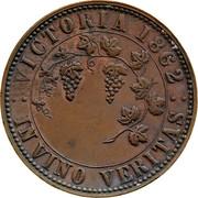 Australia 1 Penny 1862 KM# Tn236.1 Private Token issues VICTORIA 1862 IN VINO VERITAS coin reverse
