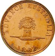Australia 1 Penny 1862 KM# Tn234 Private Token issues ADVANCE AUSTRALIA 1862 coin reverse