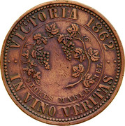 Australia 1 Penny 1862 KM# Tn228 Private Token issues VICTORIA 1862 IN VINO VERITAS coin reverse