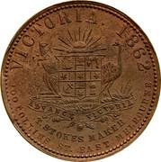 Australia 1 Penny 1862 KM# Tn214 Private Token issues VICTORIA 1862 coin reverse