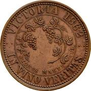 Australia 1 Penny 1862 KM# Tn233 Private Token issues VICTORIA 1862 IN VINO VERITAS STOKES MAKER coin reverse