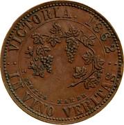 Australia 1 Penny 1862 KM# Tn226 Private Token issues VICTORIA 1862 IN VINO VERITAS T.STOKES - MAKER coin reverse