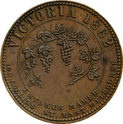 Australia 1 Penny 1862 KM# Tn224 Private Token issues VICTORIA 1862 100 COLLINS ST. EAST MELBOURNE T.STOKES MAKER. coin reverse