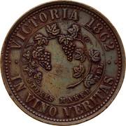Australia 1 Penny 1862 KM# Tn213 Private Token issues VICTORIA 1862 IN VINO VERITAS coin reverse