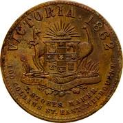 Australia 1 Penny 1862 KM# Tn204 Private Token issues VICTORIA 1862 T.STOKES MAKER. 100 COLLINS ST. EAST MELBOURNE coin reverse