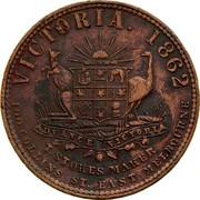 Australia 1 Penny 1862 KM# Tn202 Private Token issues VICTORIA. 1862 ADVANCE VICTORIA T. STOKES MAKER 100 COLLINS ST. EAST MELBOURNE coin reverse