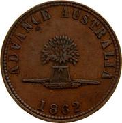 Australia 1 Penny 1862 KM# Tn209 Private Token issues ADVANCE AUSTRALIA 1862 coin reverse