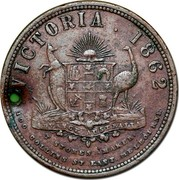 Australia 1 Penny 1862 KM# Tn19.1 Private Token issues VICTORIA. 1862 ADVANCE AUSTRALIA T. STOKES MAKER. 100 COLLINS ST. EAST MELBOURNE coin reverse