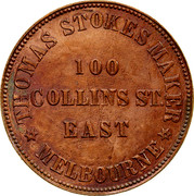 Australia 1 Penny 1862 Fabrication, as struck KM# TnF230 Private Token issues ENGRAVER-TOKEN MAKER 100 COLLINS ST. EAST MELBOURNE coin obverse