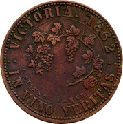 Australia 1 Penny 1862 Fabrication, as struck KM# TnF219 Private Token issues VICTORIA 1862 IN VINO VERITAS coin reverse