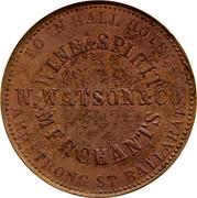 Australia 1 Penny Coat of Arms 1862 KM# TnF293 TOWN HALL HOTEL WINE&SPIRIT MERCHANTS ARMSTRONG ST.BALLARAT W.N.WATSON&CO. coin obverse