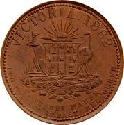 Australia 1 Penny Coat of Arms 1862 KM# TnF293 VICTORIA. 1862 ADVANCE VICTORIA T STOKES MAKER 100 COLLINS ST.EAST MELBOURNE coin reverse